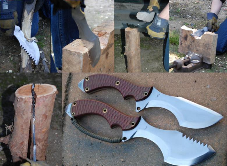 test de batonning, coupe et de qualité d'un couteau tracker