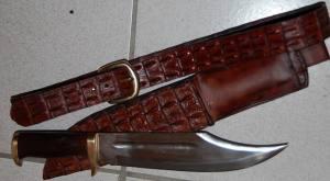 crocodile dundee, ceinture en croco, couteau forgé, étui en croco