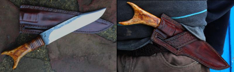 couteau forgé, manche wapiti, film légende d'automne