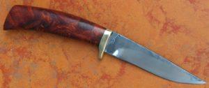 bowie skinner lame de 10.8 cm , manche en loupe de palissandre du honduras