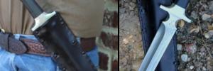 Dague de chasse traqueur , lame à trois pans de 26 cm forgée en XC 75 suminagashi , tranchant shirogami