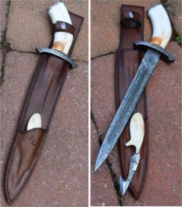 Dague et skinner de chasse en damas