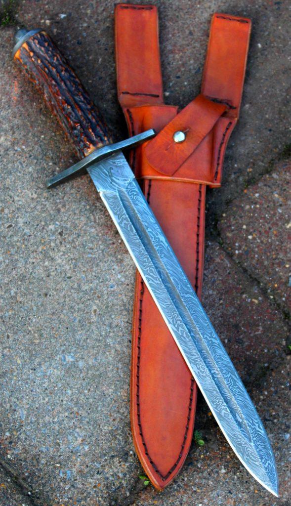 Dague de chasse, acier damas