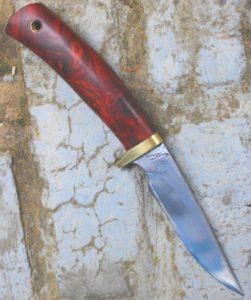 Skinner bowie Lame de 10.8 cm forgée XC 75 avec trempe sélective Plaquettes de loupe de thuya , garde en laiton manche en loupe de narra.